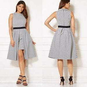 Eva Mendes Freya Dress - Fit & Flare  Mixed Stripe